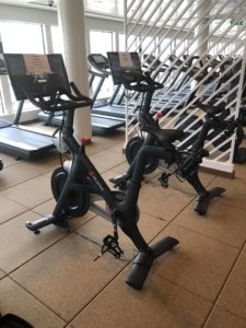 Peloton bicycles in the fitness center of the NCL Norwegian Bliss cruise ship